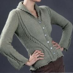 Free Knitting Patterns - Сhaqueta with braids Sweater Coats, Knit Cardigan, Knit Dress, Knitting Patterns Free, Free Knitting, Jacket Pattern, Knitted Shawls, Knitwear, Knit Crochet