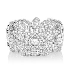 Estate Jewelry Rene Boivin 18k Gold, Platinum and Diamond Cuff