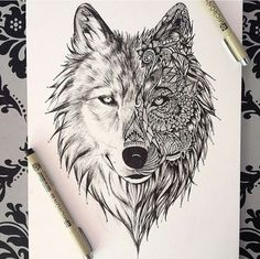 Dessin Tatouage Loup Tattoos In - Coloring Page Ideas Kunst Tattoos, Tattoo Drawings, Wolf Drawings, Art Drawings, Amazing Drawings, Zentangle Drawings, Drawing Art, Wolf Face Drawing, Drawing Ideas