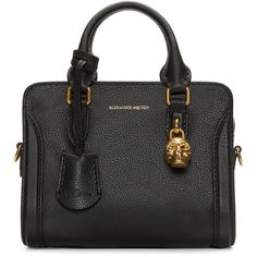 Alexander McQueen Black Leather Mini Padlock Bag (£735) ❤ liked on Polyvore featuring bags, handbags, shoulder bags, leather handbags, shoulder handbags, alexander mcqueen handbags, structured leather handbag and mini purse