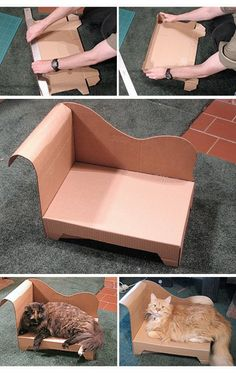 cat couch made with cardboard - For the felines! -DIY cat couch made with cardboard - For the felines! - DIY Kitten Crib How to Build a High-End Dog Sofa More Build a geodesic do. Diy Jouet Pour Chat, Cat Couch, Diy Karton, Cat House Diy, Diy Cat Toys, Diy Dog Bed, Pet Furniture, Cat Accessories, Cardboard Crafts