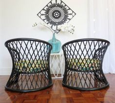 pair of vintage BLACK CANE CHAIRS bamboo 1970s retro
