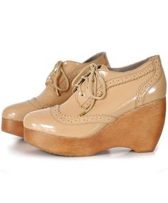 Patent Brogue Wedges from Shakuhachi. $259.