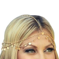 TONSEE 1PC Women Fashion Metal Head Chain Jewelry Headband Head Piece Hair band -- Learn more by visiting the image link.