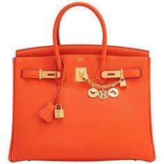 26437d0b56a Hermes Birkin Bag 35cm Orange Gold Hardware