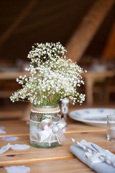 Gypsophila in Jam Jars   Tipi reception at home filled with DIY Decor   Grey Bridesmaid Dresses   Gypsophila Flowers   Image by Hannah McClune Photography   http://www.rockmywedding.co.uk/henni-daniel/