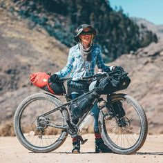 Are tires too big for small riders? Find out how we got on. and glean a few tips for bikepacking with a similar setup. Touring Bicycles, Touring Bike, Bicycle Rims, Urban Bike, Bicycle Women, Bicycle Design, Mountain Biking, Bike Packing, Bicycling