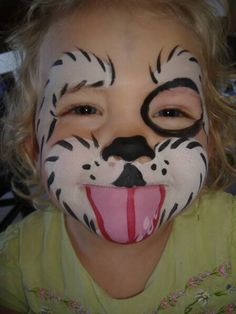 cutest face painting I've seen. I just want to nibble on that little puppy face...may paint this on 'kenna-mac' some day.