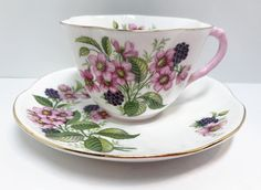 Shelley Tea Cup and Saucer, Ratauds Bramble Pattern, Dainty Shape, Antique Teacups, English Tea Cups, Antique Tea Cups Vintage Teacups Antique Tea Cups, Vintage Teacups, English Tea Cups, Bramble, Rose Tea, Glass Collection, Bone China, Cup And Saucer, Tea Party