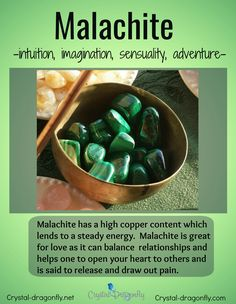Healing energy information about Malachite tumbled stones. Crystal Healing Stones, Crystal Magic, Crystal Grid, Chakra Crystals, Crystals And Gemstones, Stones And Crystals, Copper Pyramid, Meditation Crystals, Protection Stones