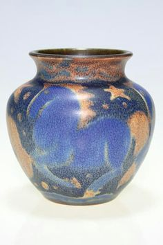 ~Rookwood~Artist: Jens Jensen~Circa 1934~Three Blue Horses With Orange Manes And Tails Interspersed With Stars And Dots Of Color-Mat Glazed Vase~