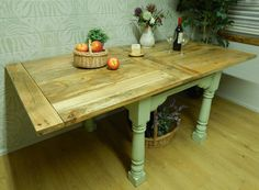 Shabby Chic Rustic Oak Painted Farmhouse Kitchen Dining Table EXTENDING F&B
