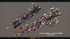 'Phobos' War Cruiser and 'Deimos' Bombardment Cruiser, for the CN.The War Cruiser is a heavy, short-range warship bristling with guns, able to turn any . Empire, Command And Conquer, Spaceship Art, Modern Tech, Military Diorama, Lightning Strikes, Navy Ships, Dieselpunk, Battleship