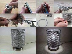 lámpara con anillas de cocacola