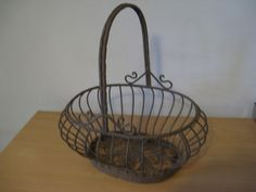 Old vintage French Oval Wire Garden Gathering Fruit Basket all iron...