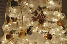 White Christmas tree in gold