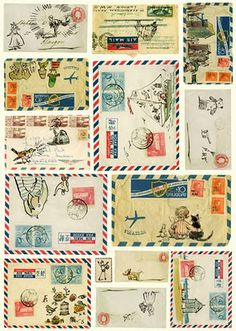 [via inspirationscrap] Pretty, embellished airmail envelopes make anyone smile.
