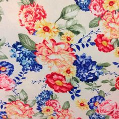 Blue Floral fabric by the yard Colorful Coral by BlingScarves