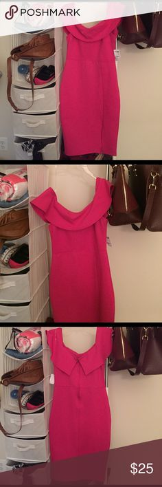 Hot Pink off the shoulder dress New Hot Pink ruffle off the shoulder dress. A perfect dress for a nice night out. Has a small slit in the front for style. In a size Medium. New with tags. Charlotte Russe Dresses Midi