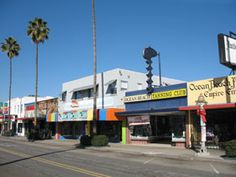 Funky, colorful shops and restaurants along Newport Avenue in Ocean Beach, San Diego, CA