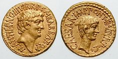 1. Augustus (16 BCE - 14 CE) Emperor number 1.  Probably a very great man, somewhat over-manipulated by his ambitious wife, Livia.  He was called Octavius during the reign of Julius Caesar and the triumvirate with Marc Antony and Lepidus.