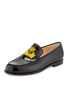 Laperouza Patent Crest Loafer, Black/Gold by Christian Louboutin at Bergdorf Goodman.