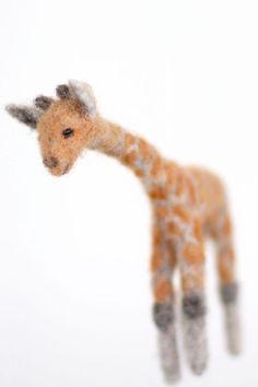 Needle felted giraffe, hanging decoration ornament Needle Felted Animals, Felt Animals, Needle Felting, Felt Giraffe, Felt Toys, Felt Flowers, Felt Crafts, Tigger, Flower Arrangements