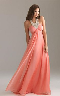 Waisted Jeweled Neckline Coral Crystal Empire Long Evening Dresses [Empire Long Evening Dresses] - $168.00 : 2014 Hot Sale Dresses | Party Dresses Discount for Prom