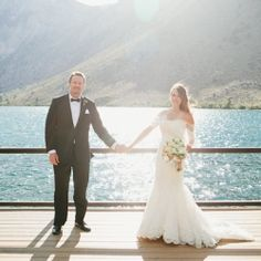 Gorgeous outdoor wedding with Convict Lake and mountains as the backdrop!