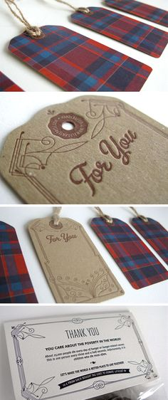 Vintage Letterpress Swing Tags - Business Cards - Creattica I love the vintage feel of these swing tags and I think I could incorporate my design into it by changing the tartan design to match the fabric I will be using on my garment.