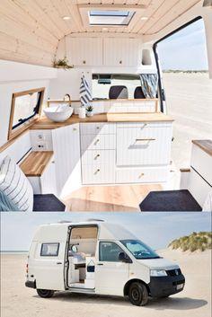 Stunning VW T5 Van Conversion. - #conversion #layout #Stunning #Van Van Conversion Interior, Camper Van Conversion Diy, Van Conversion Kitchen, Van Life, Diy Interior, Interior Plants, Interior Bed Design, Ford Interior, Motorhome Interior
