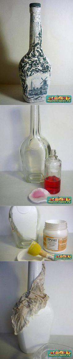 Кракелюр на бутылке. Мастер класс по декупажу | Декор бутылок | Постила