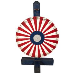 Vintage Striped Game Wheel | From a unique collection of antique and modern carnival art at https://www.1stdibs.com/furniture/folk-art/carnival-art/