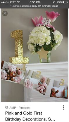 Instead of big, multicolored balloons, incorporate fancy decorations in strategic places in your home. This sparkly number will have a classic spot on your mantel. Gold First Birthday, Baby Girl 1st Birthday, Princess Birthday, Birthday Bash, First Birthday Parties, First Birthdays, Birthday Brunch, Birthday Ideas, Star Wars Party