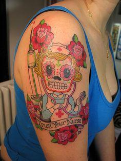 Sugar Skull by Sunny Buick, Tattooist, Paris France