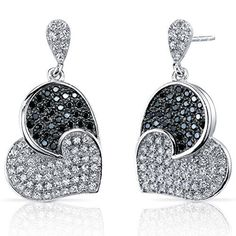 Spectacular Tilted Heart Black and White CZ Sterling Silver Rhodium Nickel Finish Dangle Earrings available at joyfulcrown.com
