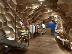 grid plywood walls and ceiling. #plywood #plyman