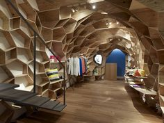 Honeycomb-like shelving. How would you adapt this stylish storage idea from a shop in Osaka, Japan? @Justina Siedschlag Siedschlag Siedschlag Blakeney