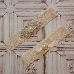 Wedding Garter, Wedding Garter Belt, Elegant Ivory Pearl & Rhinestone Bridal Garter, Ivory Bridal Garter Set, Vintage Style Garter Set, R73 by SpecialTouchBridal on Etsy