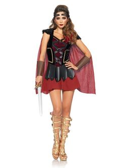 Leg Avenue Women's 4 Piece Trojan Warrior Costume, Black/Burgundy, Small/Medium ** Learn more by visiting the sponsored item link. Knight Costume, Red Costume, Sexy Halloween Costumes, Adult Halloween, Edm Outfits, Fantasias Halloween, Goddess Costume, Leg Avenue, Cape Dress