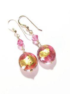 Murano Glass Pink Gold Earrings Stocking Stuffer Clip by JKCJewels