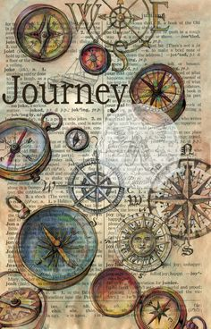 PRINT: Journey drawing on Distressed Parchment