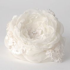 Bridal Flower Hair Accessory Ivory Wedding Fascinator Hairpiece Rose Organza Lace French Headpiece Pearls Rhinestone VelvetTeacup. $45.00, via Etsy.