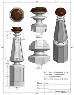 Twisted Handrails: Octagon Newel Posts Drawings