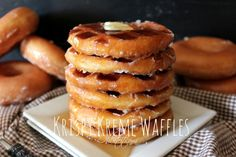 Here is the perfect solution to day-old glazed donuts! ~Krispy Kreme Waffles! Don't throw out the stale donuts - toss them on your waffle iron. Of course, you can make them from fresh donuts too.   Oh Bite It