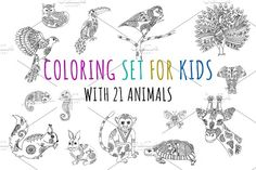 Coloring animal set for kids by Knofe on @creativemarket
