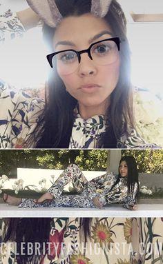 Kourtney Kardashian on Snapchat Apr 18, 2017, wearing a Gucci top http://shopstyle.it/l/g2D and matching bottom http://shopstyle.it/l/g2F. #style #celebstyle #gucci #pajama #snapchat