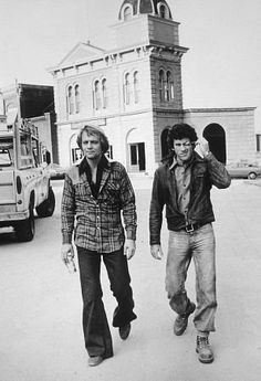 """Starsky and Hutch"" David Soul & Paul Michael Glaser at Warner Bros. set"