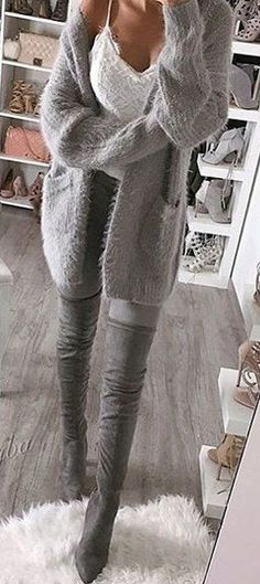 #winter #fashion / Grey Cardigan / White Lace Top / Grey OTK Boots