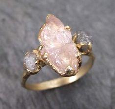 Raw Morganite Diamond Gold Engagement Ring Wedding Ring Custom One Of a Kind Gemstone Ring Three stone Ring
